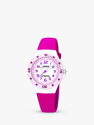 Lorus R2339DX9 Children's Rubber Strap Watch, Pink/White