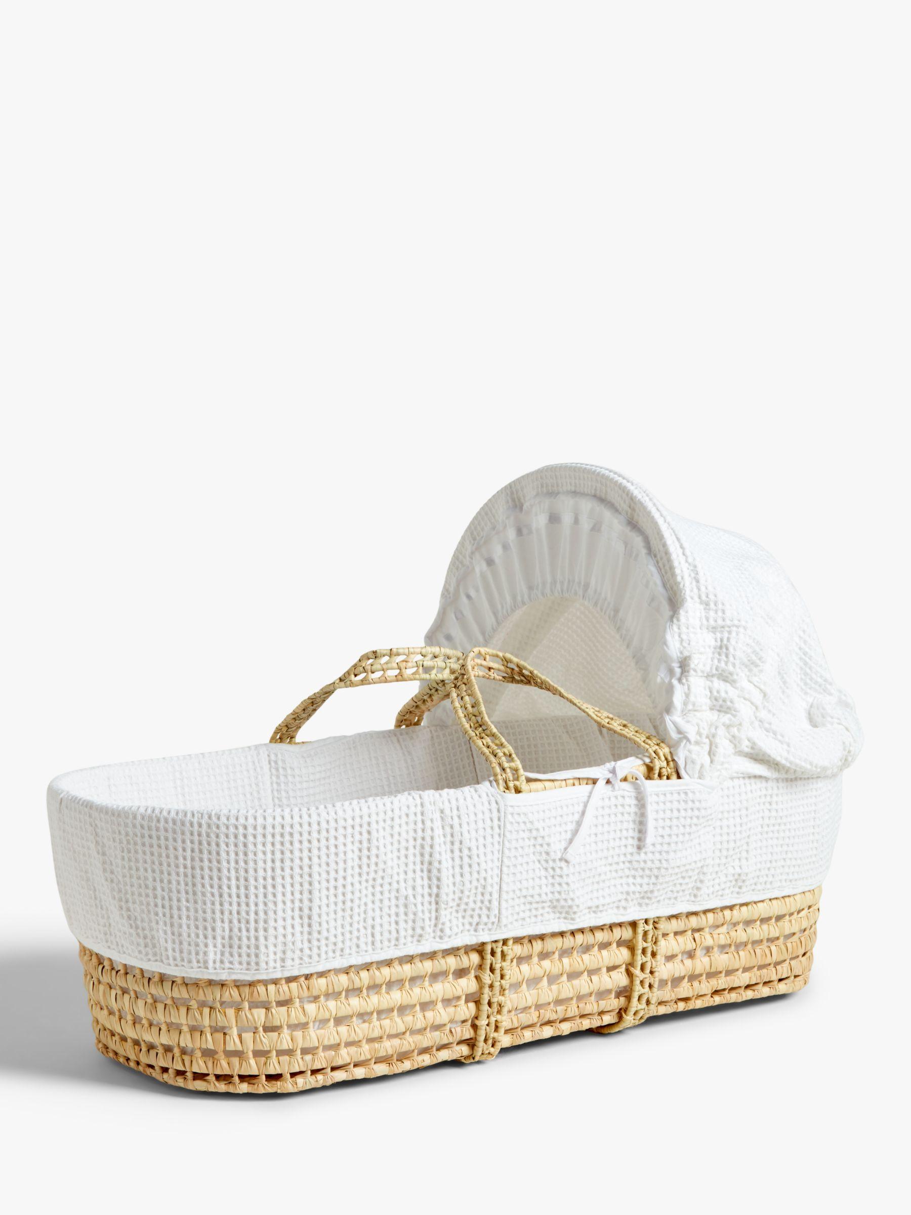 John Lewis & Partners Waffle Moses Basket, White