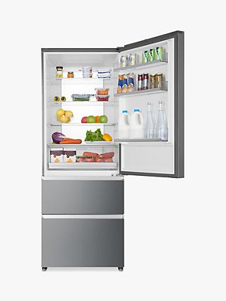 Haier A3FE743CPJ Freestanding 60/40 Fridge Freezer, Platinum Inox