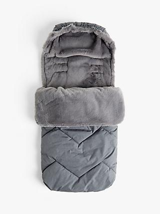 John Lewis & Partners Baby Faux Fur Footmuff, Grey