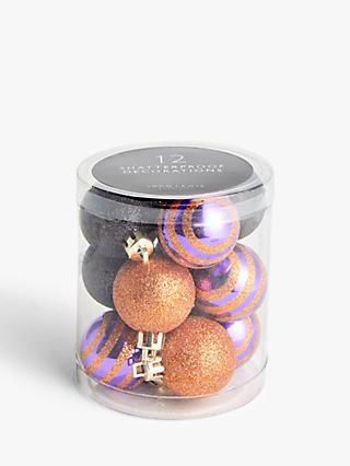 John Lewis & Partners Halloween Glitter Baubles, 12 Pieces
