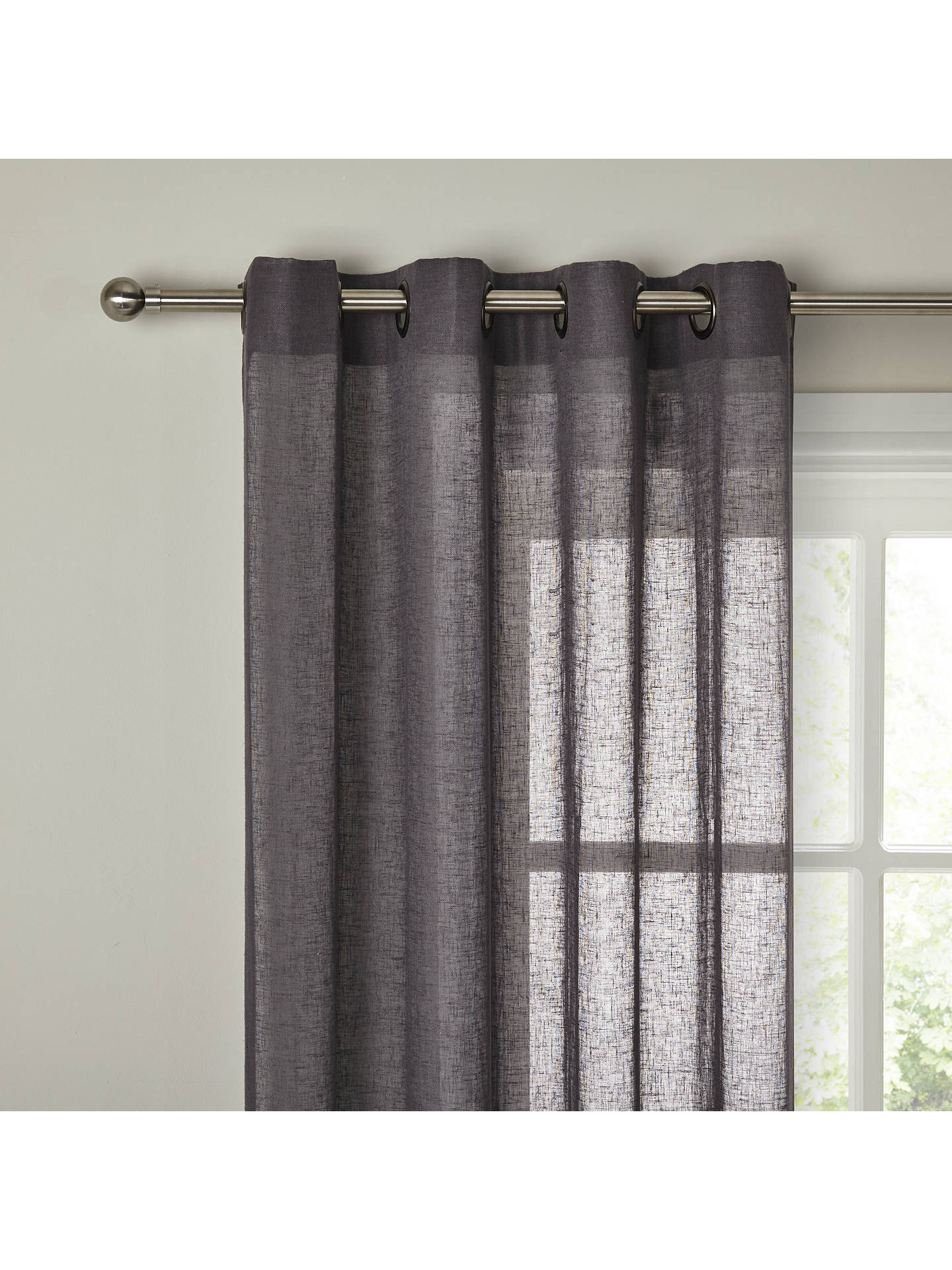 Buy John Lewis & Partners Recycled Polyester Eyelet Sheer Panel, Steel Online at johnlewis.com