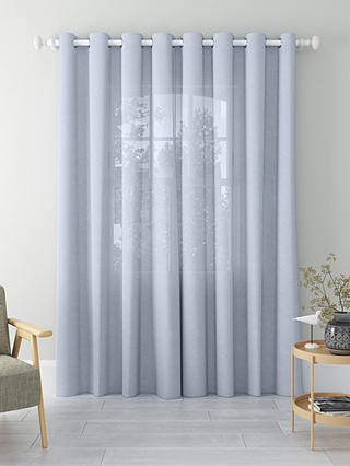 Buy John Lewis & Partners Recycled Polyester Eyelet Sheer Panel, Pacific Blue Online at johnlewis.com