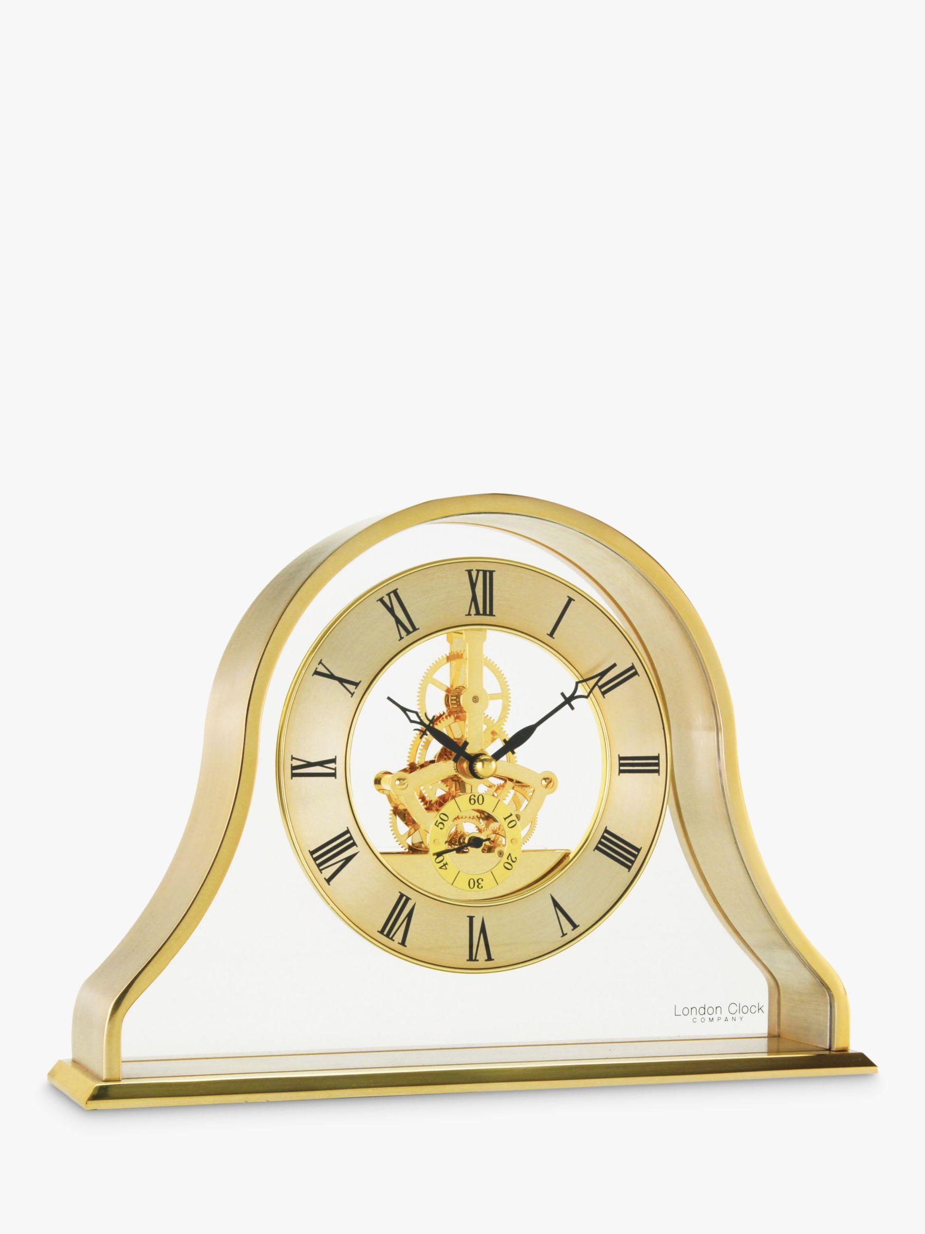 London Clock Company Napoleon Roman Numerals Analogue Skeleton Mantel Clock, Gold