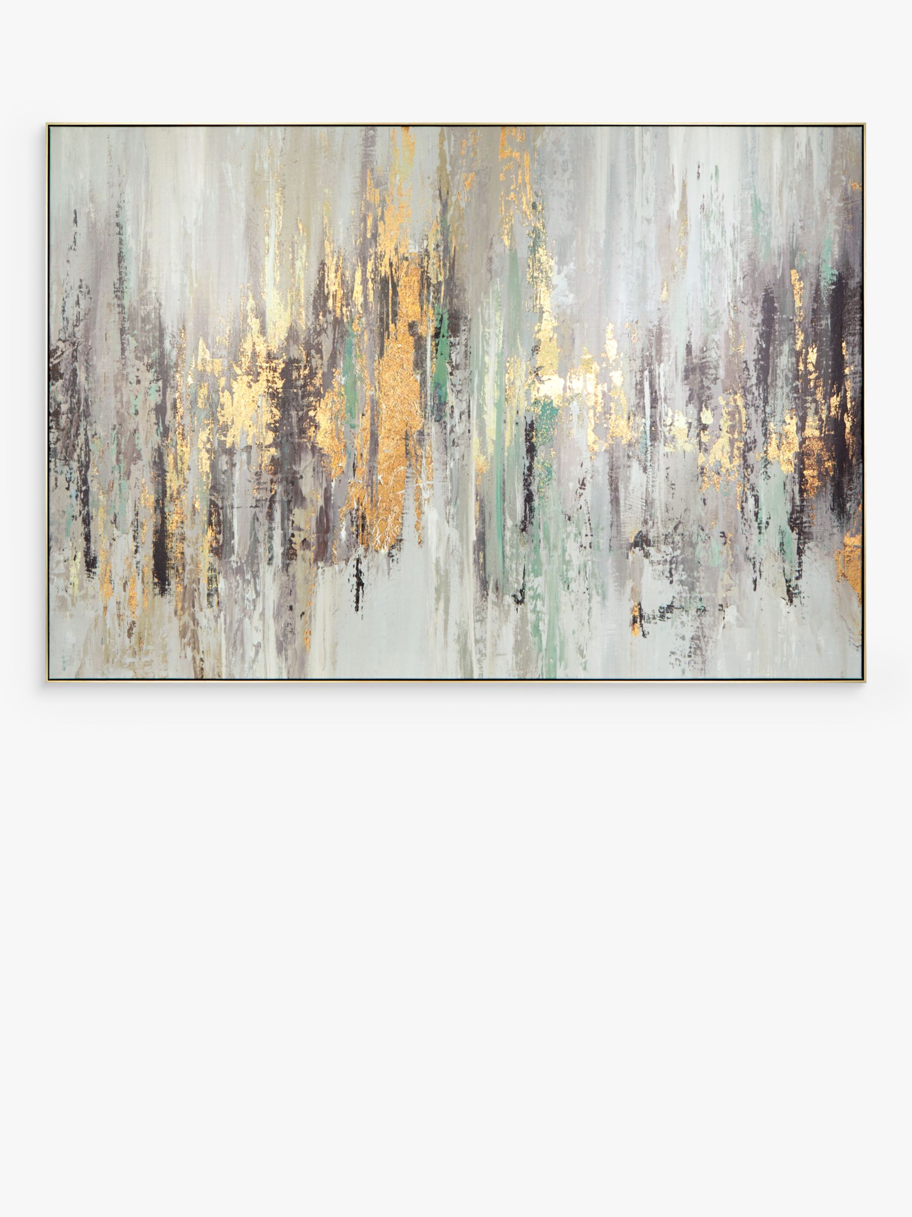 Tom Reeves Essence Abstract Framed Canvas 90 X 135cm Gold Multi At John Lewis Partners