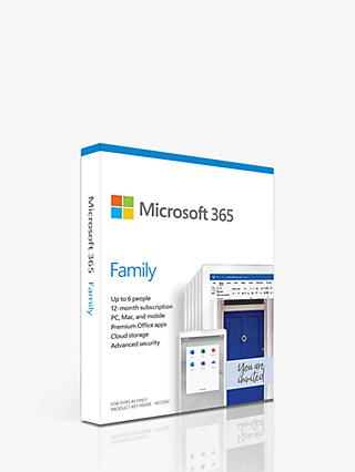 Microsoft 365 Family, Office Software for up to 6 people, PC/Mac, Tablets and Smartphones, 1 Year Subscription for 6 Users