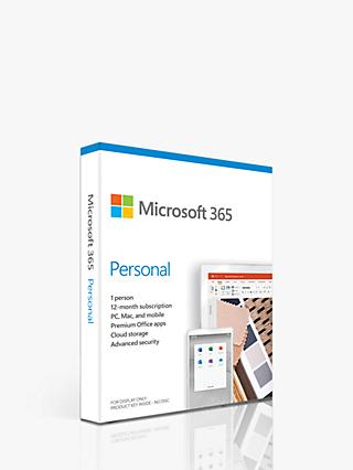 Microsoft 365 Personal, Office Software, PC/Mac, Tablets and Smartphones, 1 Year Subscription for 1 User