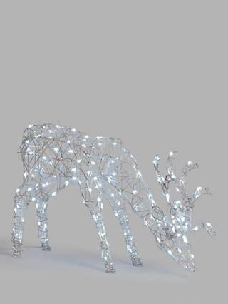 John Lewis & Partners Grazing Stag Twinkling LED Lit Figure, White