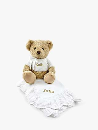 Babyblooms Personalised Bernard Bear Soft Toy & Traditional Knitted Christening Blanket, White