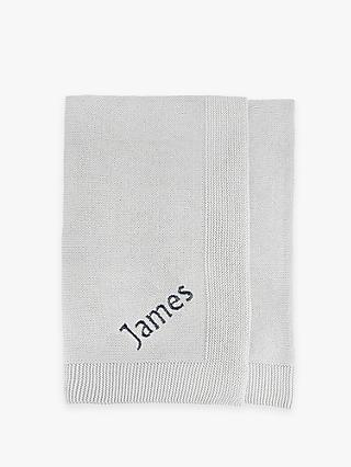 Babyblooms Personalised Knitted Baby Blanket, Grey