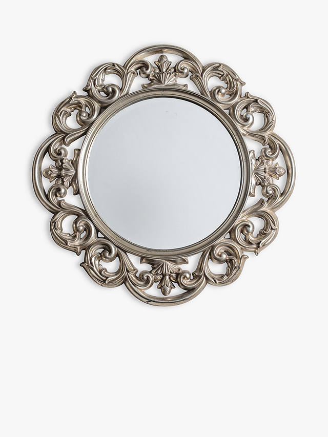 Decorative Leaf Motif Round Wall Mirror, Ornate Round Silver Wall Mirror