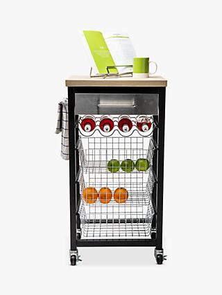 Hahn Sandon Kitchen Butcher's Trolley with Wood-Effect Top