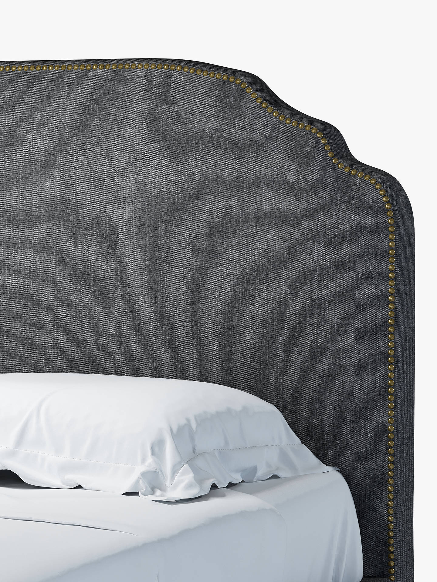 Buy John Lewis & Partners Studded Upholstered Bed Frame, Double, Erin Charcoal Online at johnlewis.com