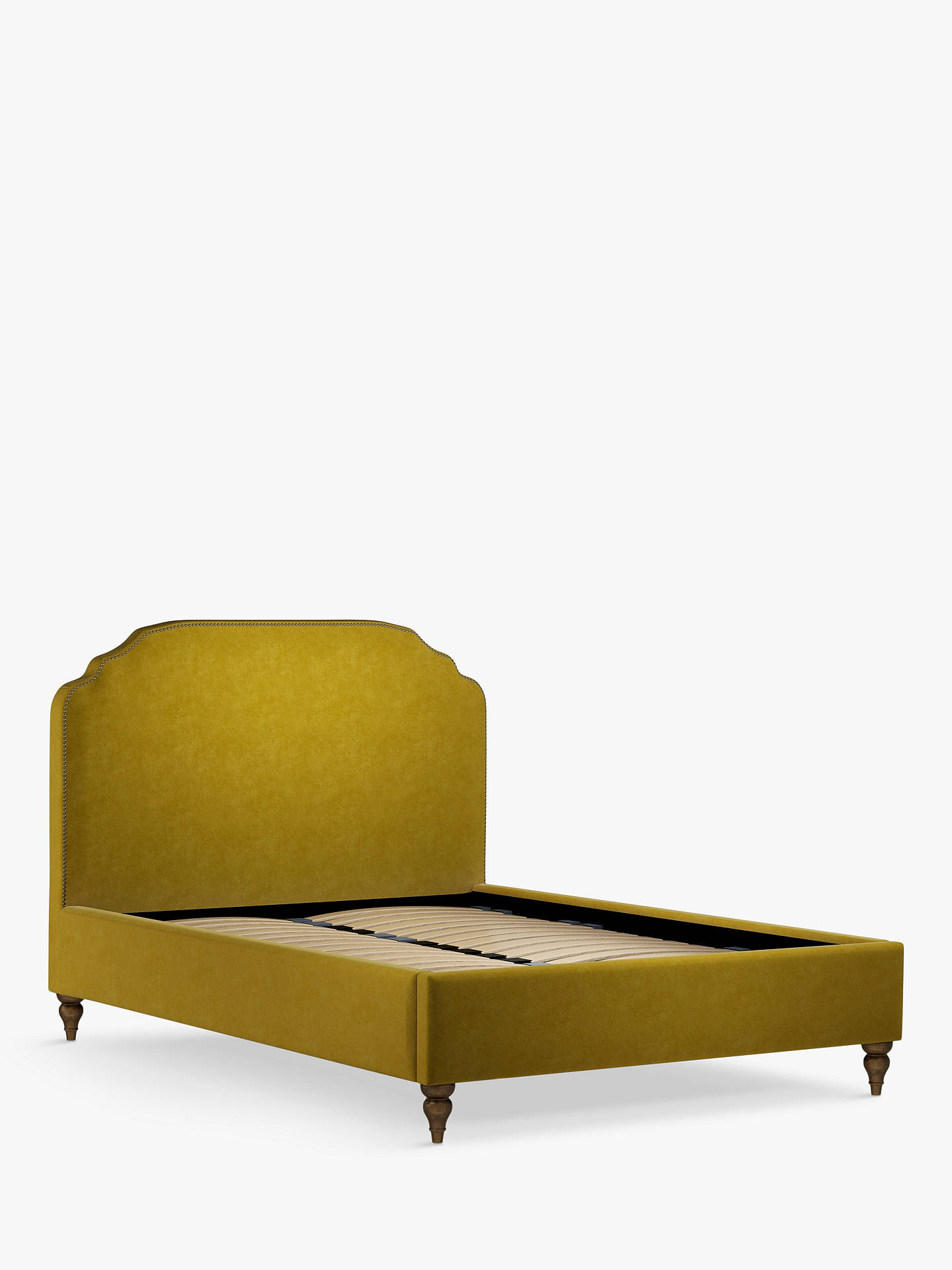 Buy John Lewis & Partners Studded Upholstered Bed Frame, Double, Aquaclean Harriet Mustard Online at johnlewis.com