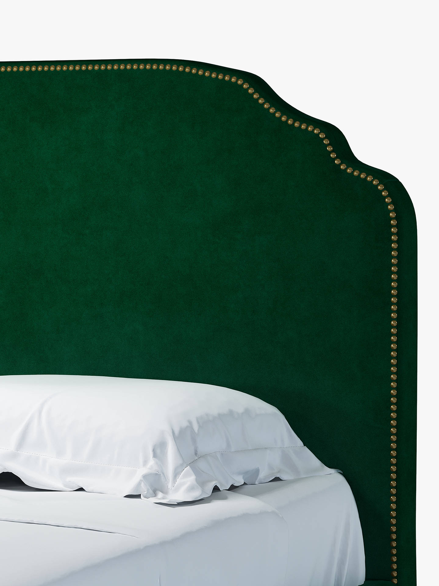 Buy John Lewis & Partners Studded Upholstered Bed Frame, Double, Aquaclean Harriet Dark Evergreen Online at johnlewis.com