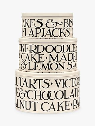Emma Bridgewater Black Toast Nesting Round Cake Tins, Set of 3, White/Black