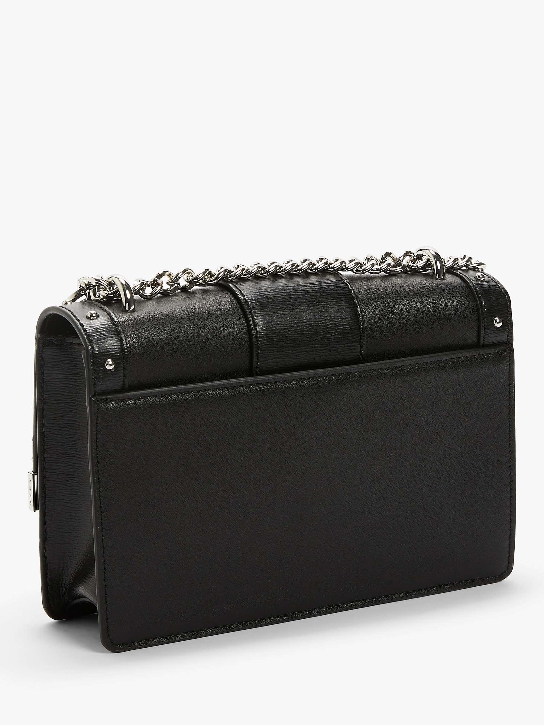 DKNY Dayna Small Leather Shoulder Bag, BlackSilver