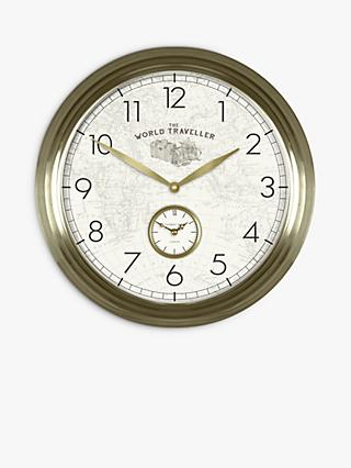 Thomas Kent Greenwich World Traveller Arabic Numerals Analogue Wall Clock, 49cm, Gold
