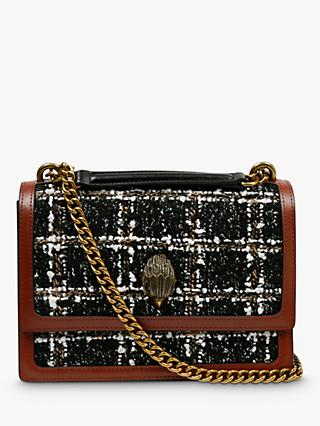 Kurt Geiger London Shoreditch Small Leather Tweed Cross Body Bag, Black/Multi