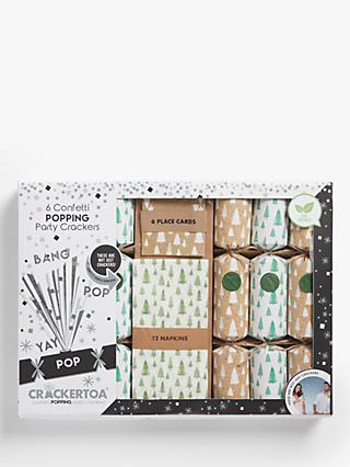 Crackertoa Luxury Party Pack Christmas Crackers, Pack of 6, Mini Trees