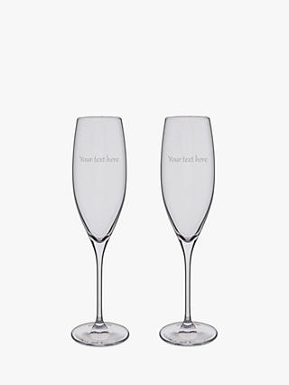Dartington Crystal Personalised Champagne Flute, Set of 2, 200ml, Gabriola Font