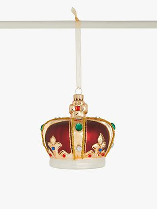 John Lewis & Partners Glass Crown Bauble, Multi