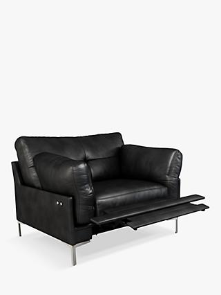 John Lewis & Partners Java II Motion Leather Armchair with Footrest Mechanism, Metal Leg