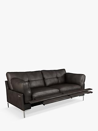 John Lewis & Partners Java II Motion Medium 2 Seater Leather Sofa with Footrest Mechanism, Metal Leg