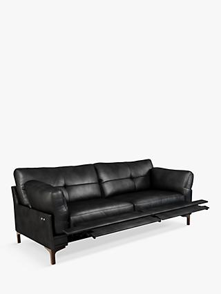 John Lewis & Partners Java II Motion Large 3 Seater Leather Sofa with Footrest Mechanism, Dark Leg