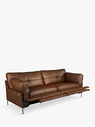 John Lewis & Partners Java II Motion Large 3 Seater Leather Sofa with Footrest Mechanism, Metal Leg