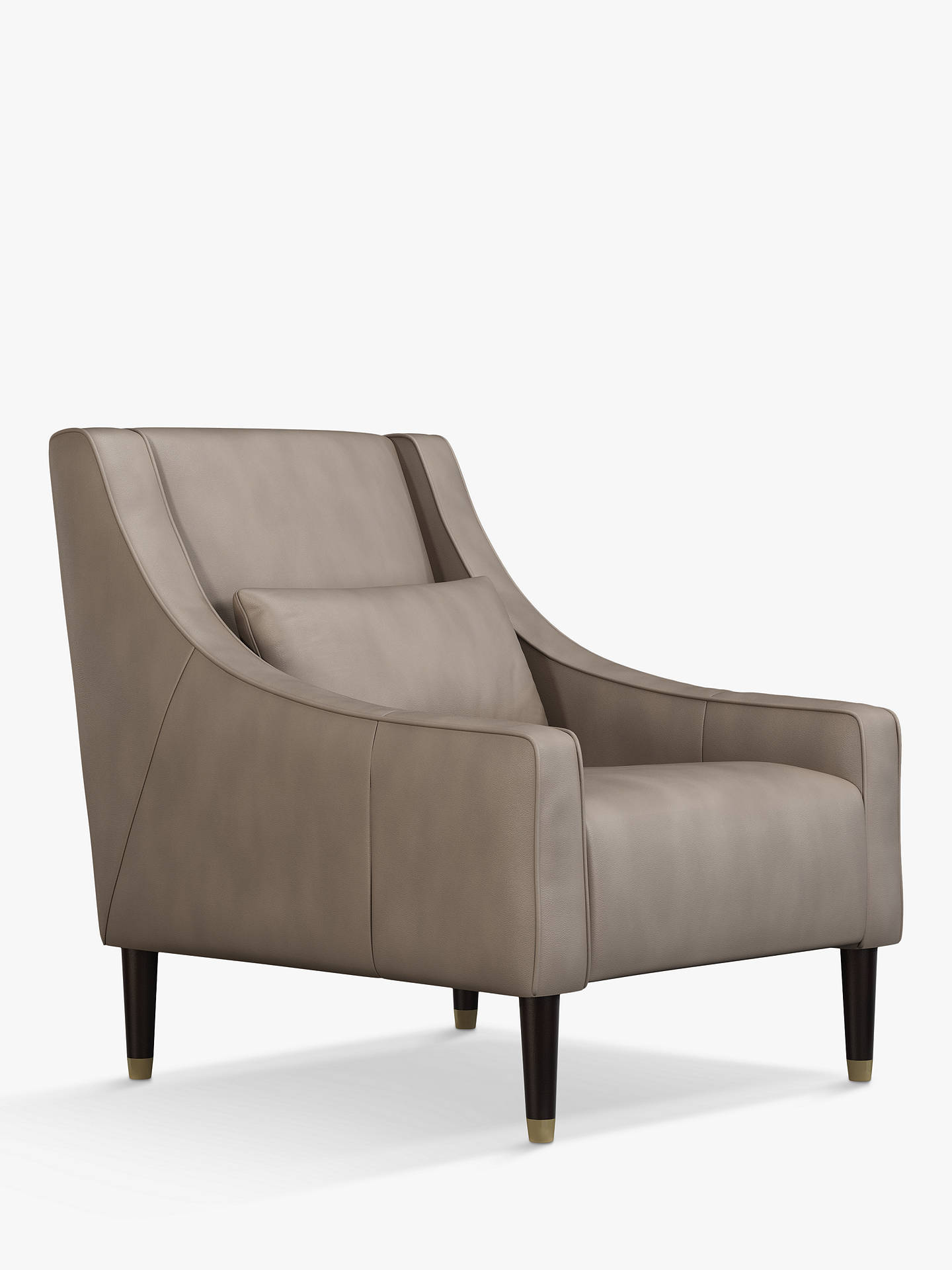 John Lewis & Partners Swept Leather Armchair, Dark Leg at ...