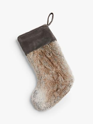John Lewis & Partners Faux Fur Christmas Stocking, Ombre Mocha