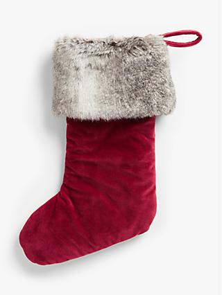 John Lewis & Partners Velvet Stocking With Faux Fur Trim, Red / White