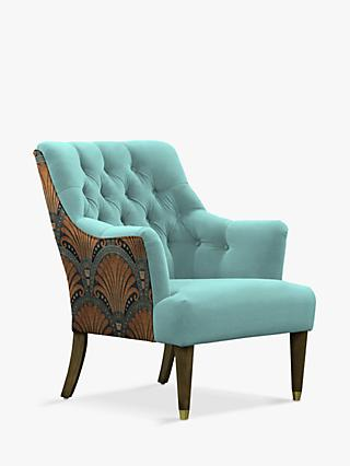 Fitzrovia Range, Parker Knoll Fitzrovia Armchair, Bracklyn Teal with Opulence Teal Back