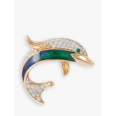 Susan Caplan Vintage Attwood & Sawyer 22ct Gold Plated Swarovski Crystal and Enamel Dolphin Broo