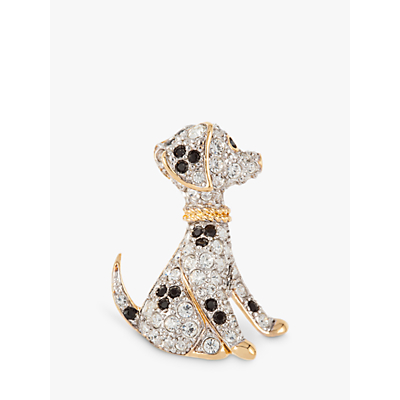 Susan Caplan Vintage D'Orlan 22ct Gold Plated Swarovski Crystal Dog Brooch, Gold/Multi