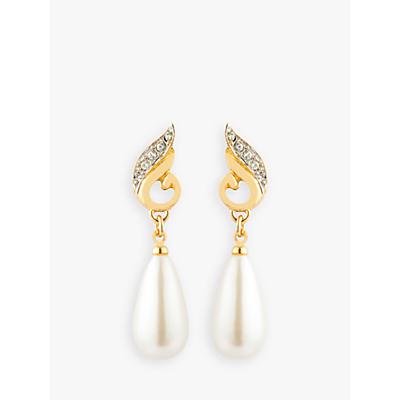 Susan Caplan Vintage 22ct Gold Plated Swarovski Crystals and Faux Pearl Drop Earrings, Gold/White
