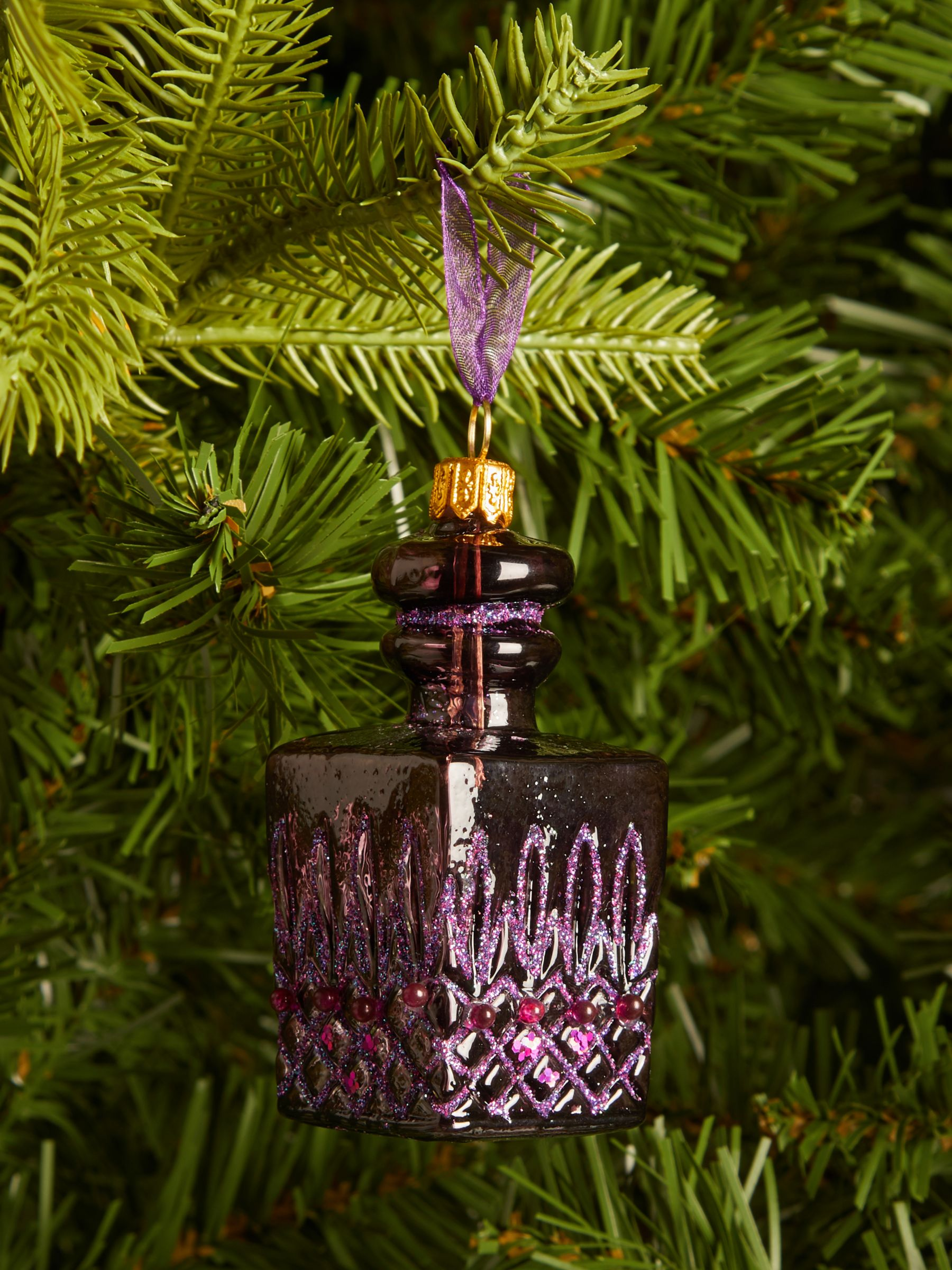 John Lewis & Partners Bloomsbury Decanter Bauble, Purple