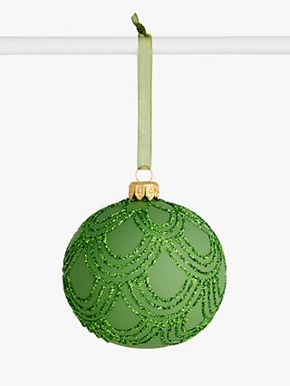 John Lewis & Partners Post Impressionism Scallop Glitter Bauble, Green