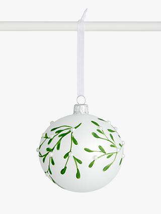 John Lewis & Partners Art of Japan Mistletoe With Pearl Bauble, White / Green