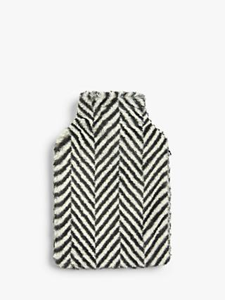 John Lewis & Partners Faux Fur Stripe Hot Water Bottle