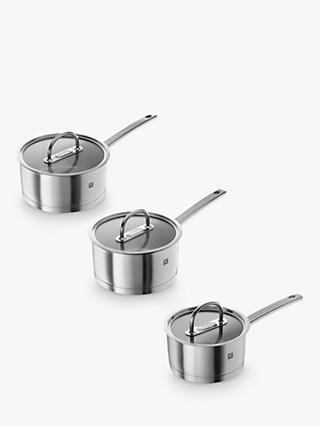 ZWILLING Prime Stainless Steel Saucepan & Glass Lid Set, 3 Piece