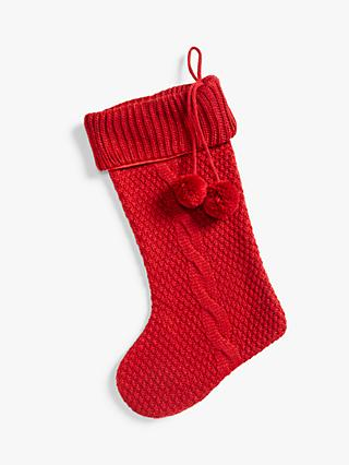 John Lewis & Partners Knitted Christmas Stocking, Red