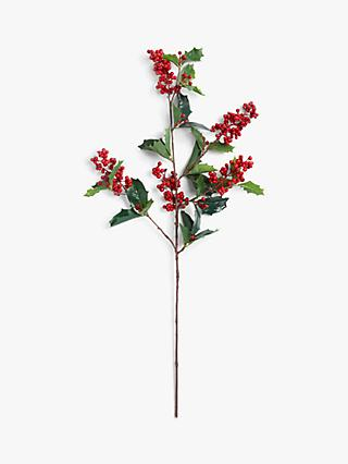 John Lewis & Partners Bloomsbury Holly Berry Spray, Red
