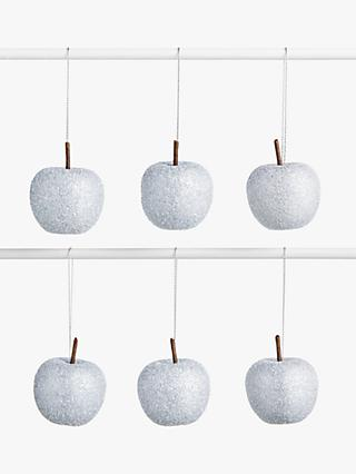 John Lewis & Partners Impressionism Glitter Apples Tree Decorations, Box of 12, Silver