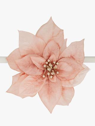 John Lewis & Partners Renaissance Poinsettia Clip On Tree Decoration, Pink