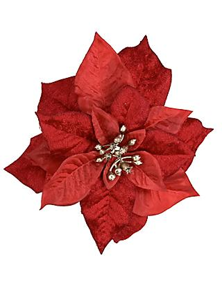 John Lewis & Partners Art of Japan Poinsettia Clip On Tree Decoration, Red
