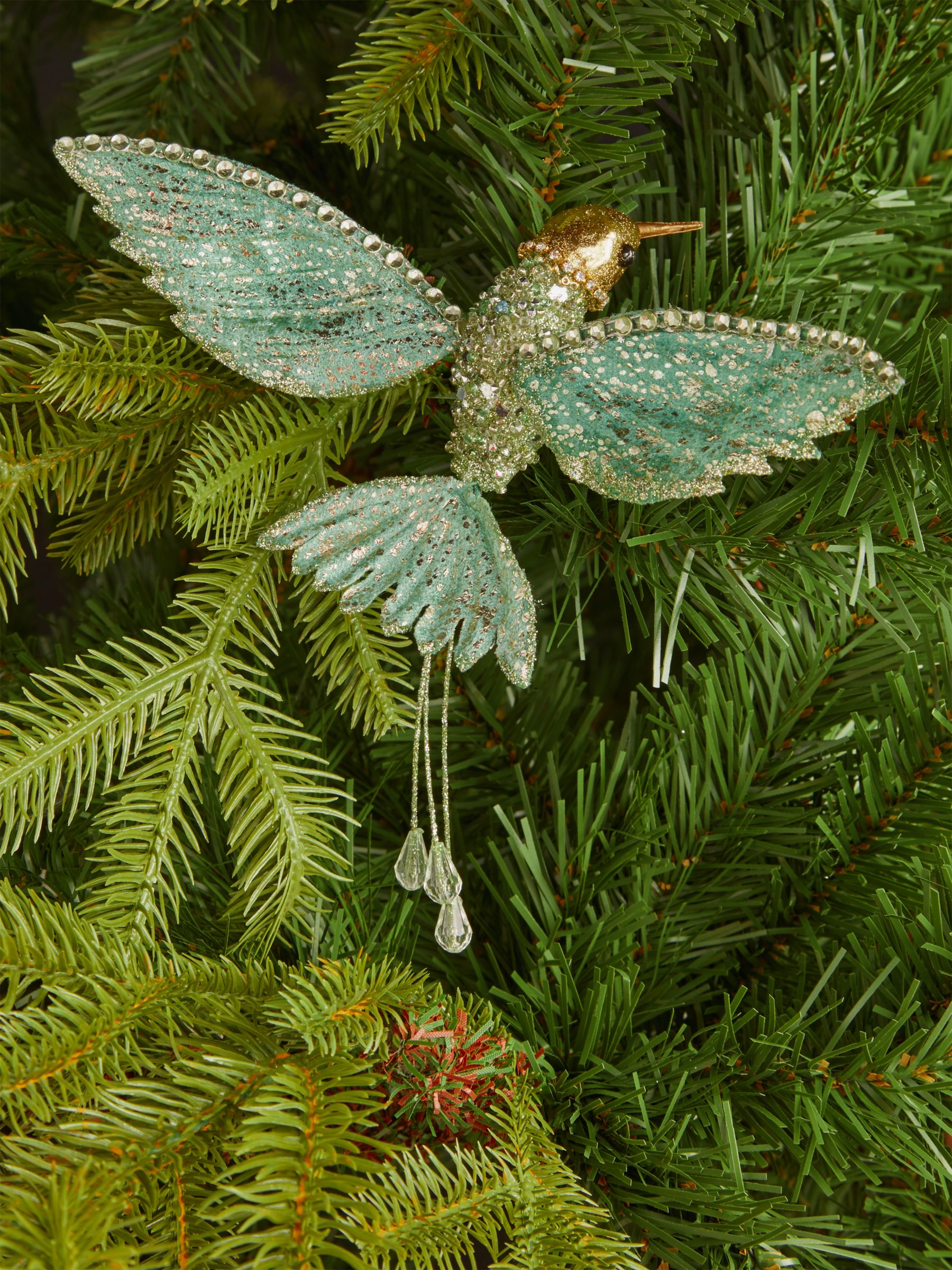John Lewis & Partners Renaissance Glitter Hummingbird Tree Decoration, Green