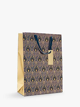 John Lewis & Partners Art Nouveau Peacock Feather Gift Bag, Large