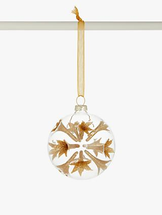 John Lewis & Partners Art Nouveau Sputnik Bauble, Clear / Gold